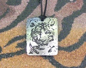 Tiger Pendant, Stainless Steel Etched - Power, Beauty, Passion