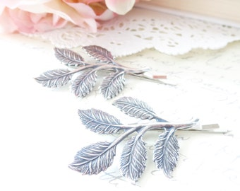 Sterling Silver Plated Leaf Branch Bobby Pin Set - Woodland Collection - Whimsical - Nature - Bridal