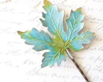 Verdigris Leaf Hair Pin - Maple Leaf - Bobby Pin - Woodland Collection - Nature - Bridal Hair