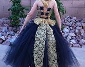 Flower Girl Dress, Weddings, Tutu Dress, Black Tutu, Black Satin, Gold Lace, Reception, Vintage, Black Ballerina, Bridesmaid Tutu, Wedding