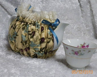 Teapot Cozy Soft Cream with Flowers  Size 2-3 Cup Tea Pot