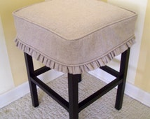 Square Bar Stool Cover Barstool Slipcover Tan Linen