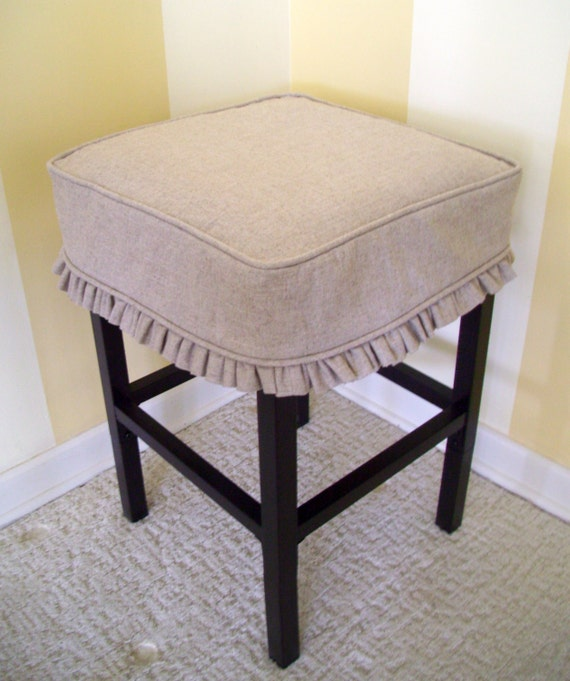 Square Bar Stools ~ Square bar stool cover barstool slipcover tan linen ruffled