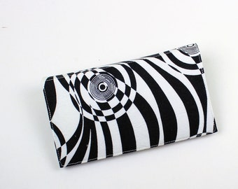 Psychedelic Checkbook Cover for Duplicate Checks with Pen Holder,  Black and White Abstract