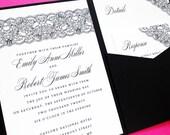 Lace Pocketfold Wedding Invitation, Wedding Invites, Pocket Invitations, Pocketfold Pocket Fold Wedding Invitation Suite Set, Lace Wedding