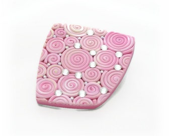 Pink Brooch for Women - Statement Brooch - Pink Pin - Modern Brooch - Crystal Brooch - Art Jewelry - Gift for Her - Mothers Day Gift