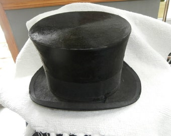 "Black Top Hat : Vintage 6"" Tall   Black Henry Heath Top Hat"
