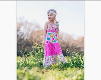 Girls PDF Sewing Pattern, Dress Pattern, The Addison Maxi Dress