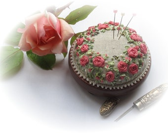 Silk Ribbon Embroidery - Roses and Pearls Pink Perfection
