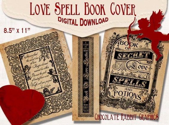 Antique Book Cover Diy : Love spell book cover witch digital download printable diy
