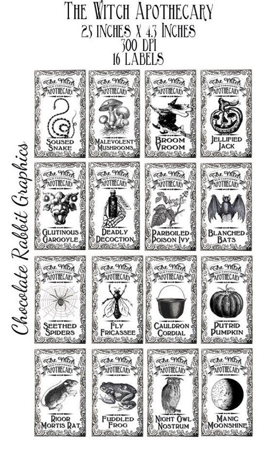 labels witch potion halloween apothecary bottle printable clip label jar collage tags digital