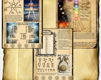 Digital Download Book of Shadows 3 Page Set - 7 Seven Planets Magick - Ceremonial Magick, Alchemy, Chakra associations