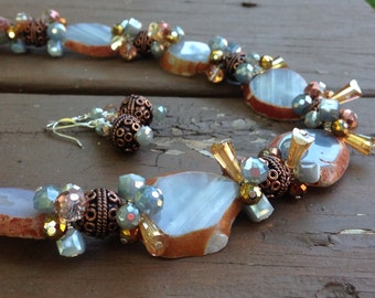 Blue Lace Agate Slices with Copper Beads and Crystals Necklace and Earrings