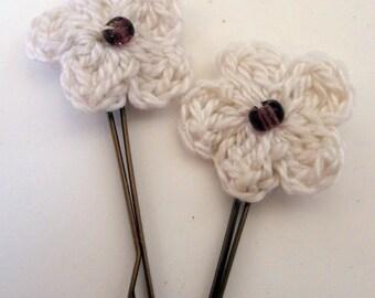 Crochet Flower Bobby Pins, Wedding Hair, Flower Hairpins, Hair Accessories