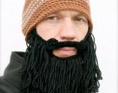 long beard hat, mens crochet beard beanie, bearded toque, mustache cap  The Original Beard Beanie™ shaggy - brown striped with black