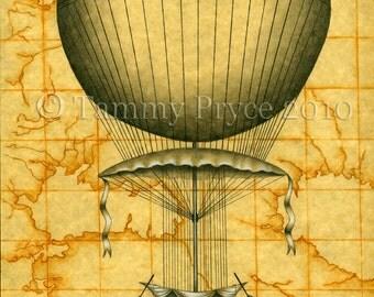 "Voyager Airship Steampunk Vintage Fantasy 8x10"" Fine Art Print"