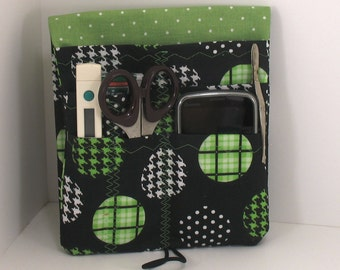Cargo Pocket Organizer - Nurse Pocket Case - Scrubs Pocket Organizer -Houndstooth Circles -Made to order- Two sizes in three colors