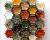 PERSONALIZED Wedding Gift Idea:  Magnetic Spice Rack of 24 Jars Filled with Organic Spices of Your Choice. Spice Up Your Marriage!