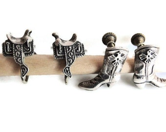 Vintage 1950's Two Pair Earrings,Western Style, New Mexico Indian Silver, one Boot and one Saddle