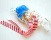 rattan white fish, alternative ring bearer pillow, engagement ring holder, beach wedding party, hawaiian wedding, white red blue, nautical
