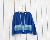 Vintage 60s Sweater / KNIT CARDIGAN / Striped / M L