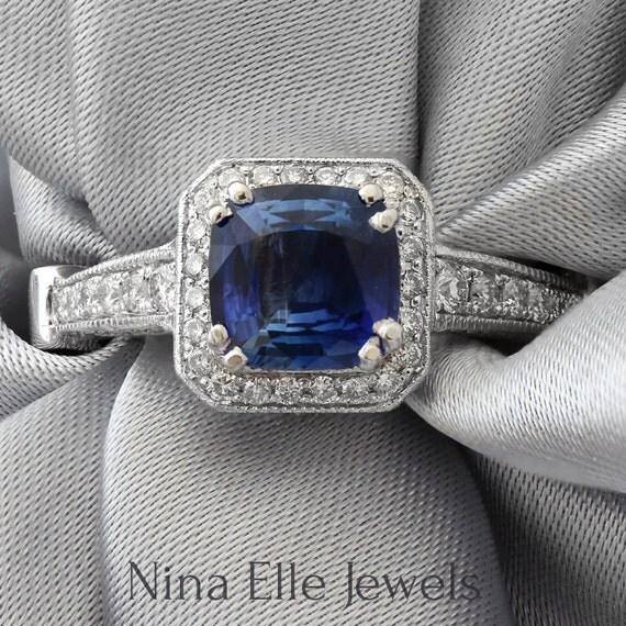 Cushion cut medium blue  sapphire & Diamonds engagement ring antique pave style SA2900