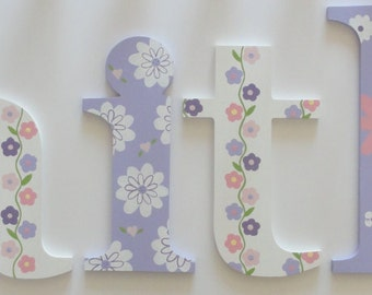 Lavendar Daisy Wall Letters