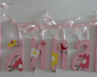 Sweet Pink and Floral Handpainted Wall Letters