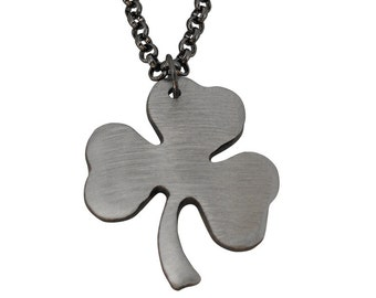 3-Leaf CLOVER Charm/ Shamrock Necklace/ Irish/ by WATTO Distinctive Metal Wear/ Handmade Silver Color Metal Clover Pendant on Gunmetal Chain