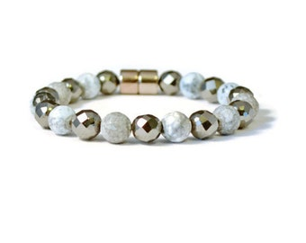 Magnetic Hematite and Fire Agate Bracelet, Therapy Jewelry, Arthritis Pain Relief