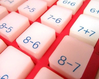 Vintage Numbers, Touch N Tell, Math, Add Subtract, School Tool,  Old Fashioned Calculator, Arithmatic Practice for Elementary School Kids