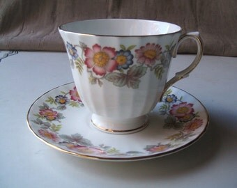 Vintage Duchess Bone China Teacup & Saucer Set, England, Mid Century, 1960's, Fluted Footed, Signed