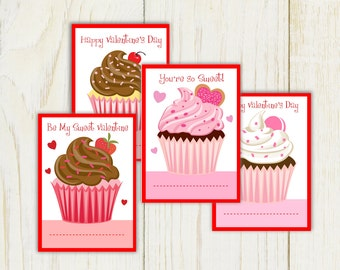 Valentine Cards with Cupcakes - editable text - digital file