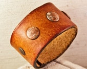 Distressed Leather Bracelet Earth Tones December Rustic Cuffs Bracelets