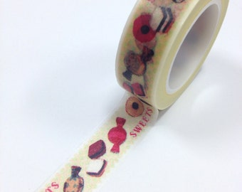 Washi Tape - 15mm - Sweets Treats on Cream - Deco Paper Tape No. 433B