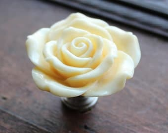 Light Yellow Flower Drawer Knobs - Cabinet Knobs Rose (RFK14-05)