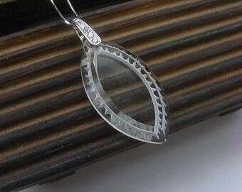 Vintage Navette Glass Pendant, Navette glass silver necklace