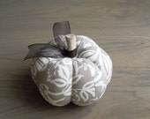 Pumpkin Pincushion with Gray and White Floral Design