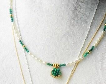 Malachite Pearls Necklace / Minimal beaded necklace / Gemstone choker / 14K gold malachite  wire wrapped Pendant /  yoga amulet necklace