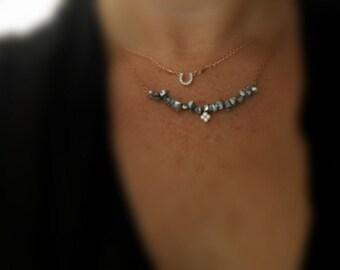 Tiny Rose Gold Horseshoe CZ Necklace / Rose Gold Necklace /  Lucky Necklace  / Simple Necklace  /  everyday layering  jewelry /  minimal