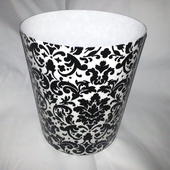Black And White Damask Tissue Box Cover Cube Shaped