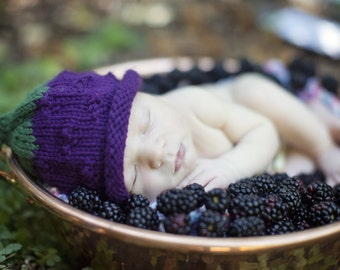 Blackberry Hat, Knit Fruit Baby Hat great photo prop