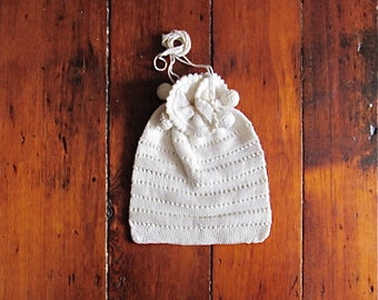 vintage 1920s wedding pouch / white crochet purse