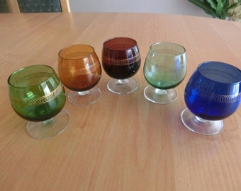 Handblown Cognac Glasses from the 50s with gold relief pattern Set of 5 different colours