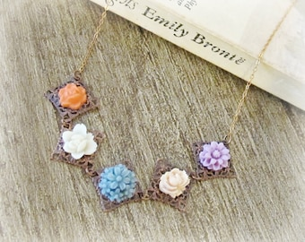 Pastel Botanical Necklace. Flower Cabochon Orange White Blue Pink Lilac. Copper Vintage Charm Jewellery Jewelry. Two Cheeky Monkeys Boho