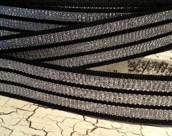 """7/8"""" CHRISTMAS Black and Metallic Silver StripeGrosgrain Ribbon sold by the yard"""