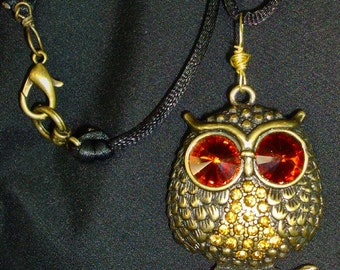 OWL NECKLACE, Large Amber bling eyes, Black silk chain, wire wrapped, RedRobinArt, Grigsby Gallery