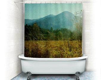 "landscape photograph Shower Curtain ""country drive"",mountains,nature, home decor,winter,fall,beige,yellow,green,aqua"