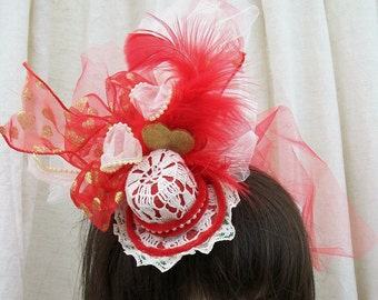 Mini Red and Beige Top Hat, Hearts, Feathers, Lace and Vintage Doily Rockabilly, Victorian, Steampunk, Gothic
