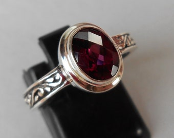 Balinese Sterling Silver Rhodolite Ring / silver 925 / request size / size 7 ready to ship / Bali Handmade Jewelry Granulation Art